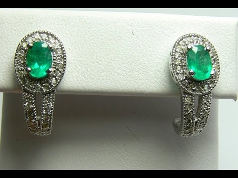 Glamorous Colombian Emerald and Sparkling Diamond Earrings 14k 2.82tcw