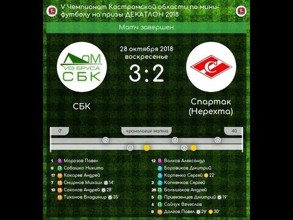 СБК - Спартак (Нерехта) 3:2 V Чемпионат Костромской области по мини-футболу (28.10.18)