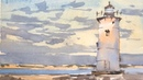 """Advancing with Watercolor Graded Washes Edgartown Light"""""""