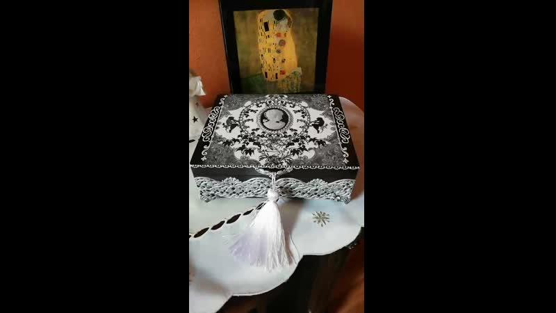 Именная шкатулка для украшений Камея 20x17x7 декупаж декупажнн подаркинн handmade подаркиназаказ длядома декордома своимирук