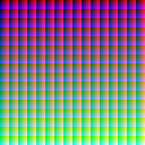 16 млн. цветов наглядно Это изображение содержит все 16 777 216 цветов RGB. Это больше, чем может различить глаз человека. По одному на каждый пиксель. Без