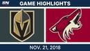 NHL Highlights Golden Knights vs Coyotes Nov 21 2018