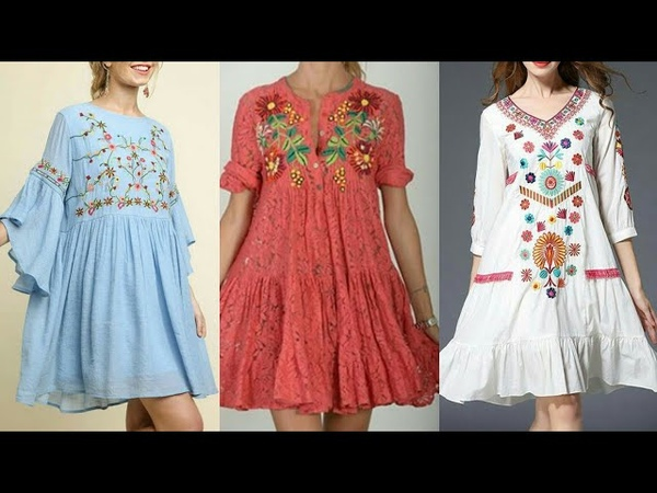 Boho Style Floral Print Embroidered Holiday Shirts Tunic Shirts Designs