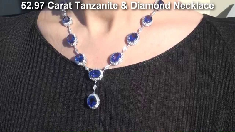 INVESTMENT GRADE 52.97 Carat Tanzanite Diamond Necklace 18K Gold