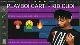How to make PLAYBOI CARTI - KID CUDI on GarageBand iOS sampling tutorial