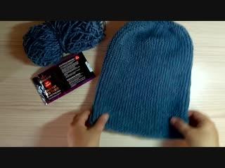Популярная шапка бини спицами МК для начинающих из пряжи