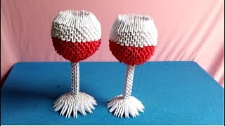 Origami 3d glass tutorial - How to make glass of wine - Làm ly rượu origami 3d