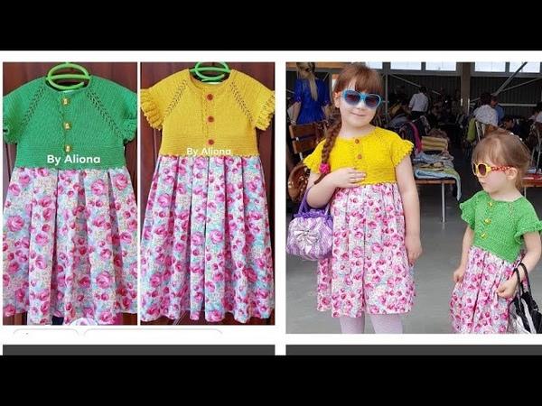 Tehnica raglan pas cu 2 Rochiță tricotata детская платья комбинированая