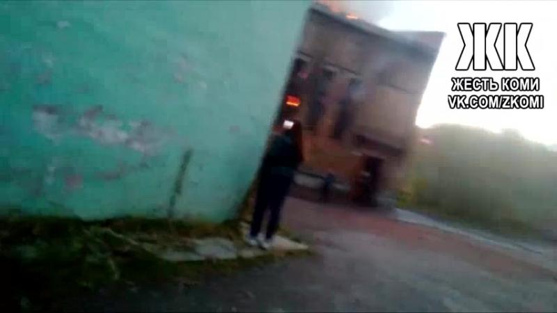 Пожар в зданий заброшенной школы №16 в Воркуте 19.09.18 - Жесть Коми