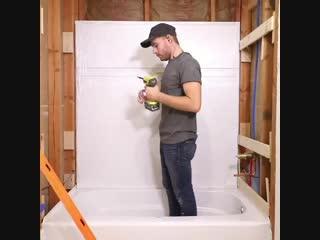 Обновил ванную в деревянном доме