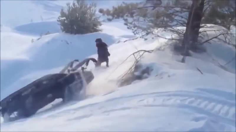 Аварии и ДТП на снегоходах 2017 ЗИМА - Snowmobile fails from dash cam - WINTER 2017