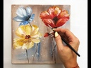 How to draw easy flowers painting/ Demonstration /Acrylic Technique on canvas by Julia Kotenko