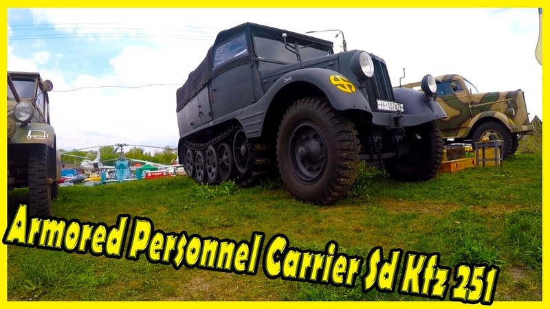 German Armored personnel carrier Sd Kfz 251 Documentary. Semi-trailer Truck Skoda