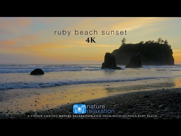 Ruby Beach Sunset 4K | 1HR Real-Time Sunset Ocean Sounds by Nature Relaxation™ - Washington State