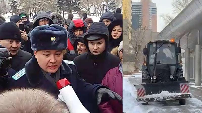 Полиция не дает провести курултай. Люди возмущены. Астана, 9 февраля 2019 года / БАСЕ
