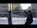 Кроссбар челлендж в 20 на снегу