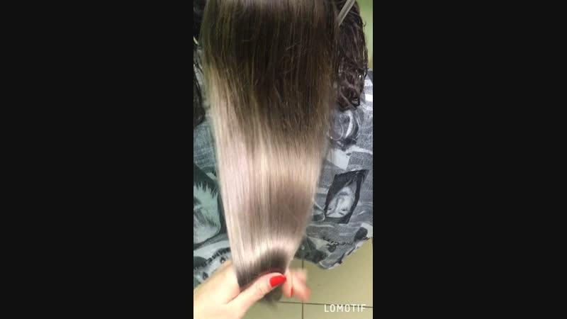 Растяжка в холодные оттенки блонда