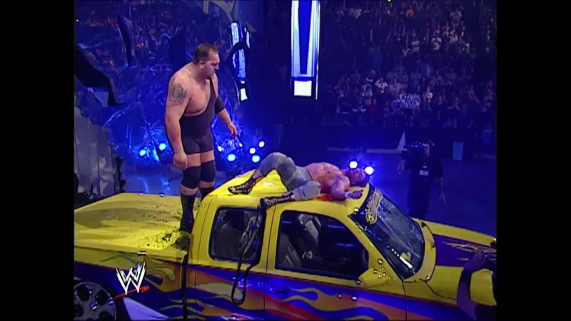 WWE Smack Down 16th October 2003 - The Big Show chokeslammed Eddie Guerrero on the top of the vehicle leaving him a bloody mess