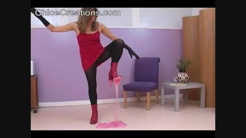 Chloe Creations red boots stuck in pink glue