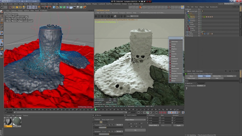 RealFlow for Cinema4D with RD-Textures - collider and fake foam with octane shader