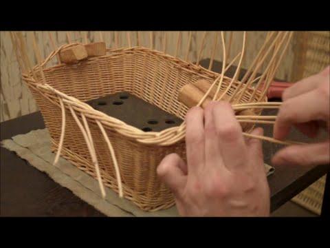 Плетение из лозы Прямоугольная корзинка с ручками Wickerwork