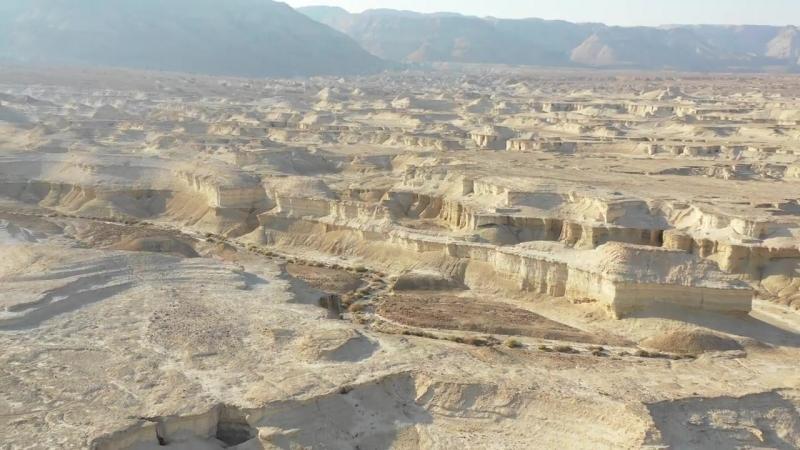 Mavic 2 Pro Drone flight over ashen remains of Gomorrah below Masada, Israel.mp4