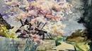 Cherry Blossom Sakura trees landscape Healing Watercolor Art Calming