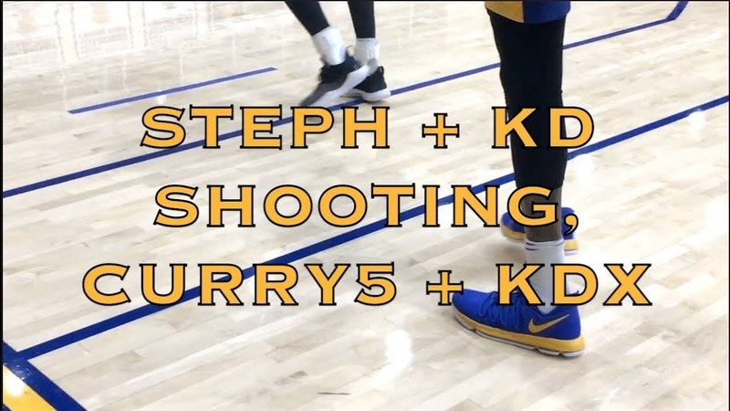Steph in Curry5 and Durant in KDX splashing, then Curry hits 18 straight corner 3s