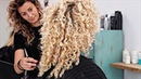 Dry haircut colored blonde curls the healthy way *OLAPLEX*