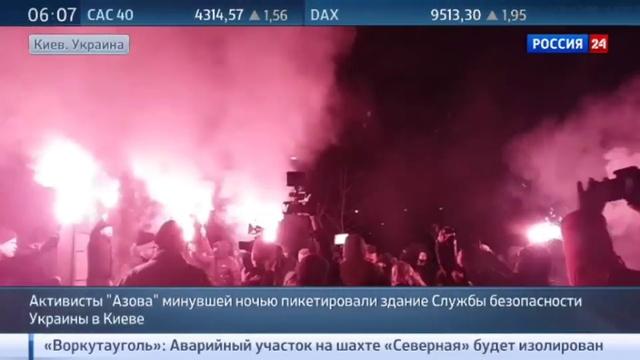 Новости на Россия 24 • Активисты батальона Азов пикетировали здание Службы безопасности Украины