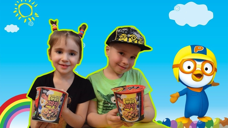 Pororo noodles little fan Alisa not going to share with her brother Alan