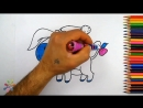 Рисуем веселого ослика. Drawing a merry donkey.Раскраски для детей