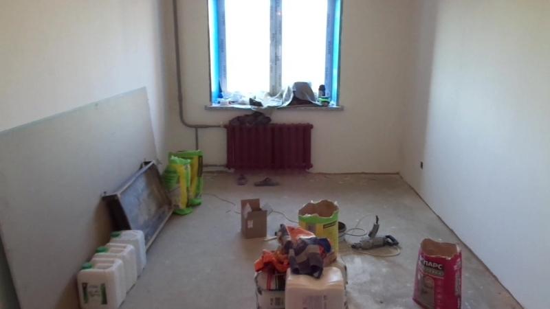 Ремонт квартир в Вологде. Ул. Карла Маркса. 1-комнатная, 36 м2. Выполнена штукатурка стен по маякам в санузле. Замена полотенцес