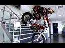 Trial Bike Stunts Through Red Bull Factory ★ Dougie Lampkin ★ Freestyle Motorcycle Fun