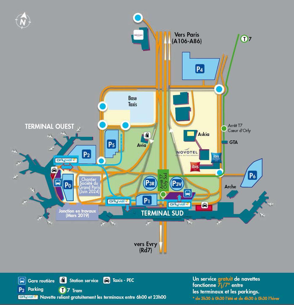 Схема расположения терминалов и остановок в Орли