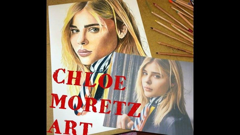 Speed drawing Хлоя Морец Chloe Moretz 3D drawings with colored pencils ARTSIDE