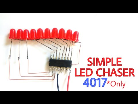 Simple led chaser using only 4017 | without PCB