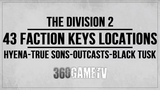 The Division 2 43 Faction Keys Locations (Hyena-True Sons-Outcasts-Black Tusk Key Locations Guide)