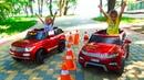 Челлендж на МАШИНКАХ для детей ОГРОМНЫЙ надувной Батут ИГРЫ в парке развлечений
