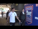 Boro players arrive at the Portman Road for the final league game against Ipswich Town