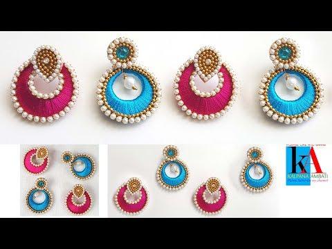 How to make simple designer chandbali jhumkas 2 colours at home
