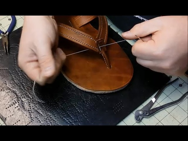 Let's Make Leather Flip Flops! Part 7 - Sewing the strap to the Sole, Cementing the Layers