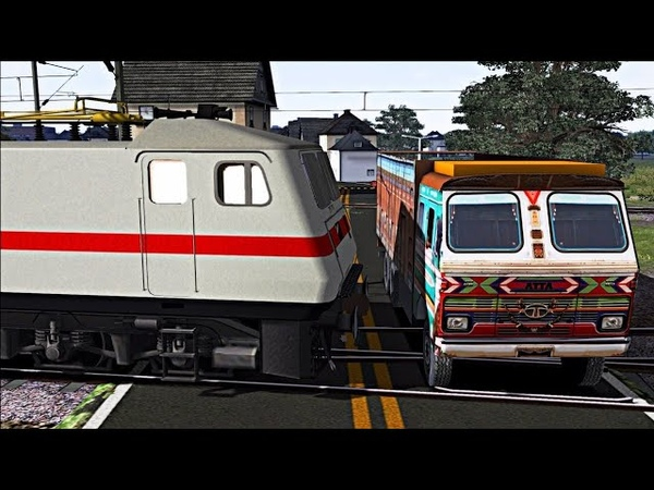 Train TRUCK Accident 2018    Indian Train Simulator    TRUCK Crashed by Train    Indian Railways