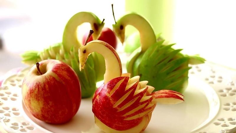 How to Make Apple Swan Garnish | Fruit Vegetable Carving