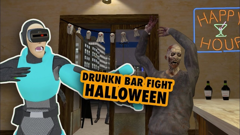 DRUNKN BAR FIGHT VR on Halloween - ZOMBIES
