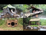 Primitive Technology Build Stone Hut, House in the Trunk, Hobbit House, Tiled Roof Hut