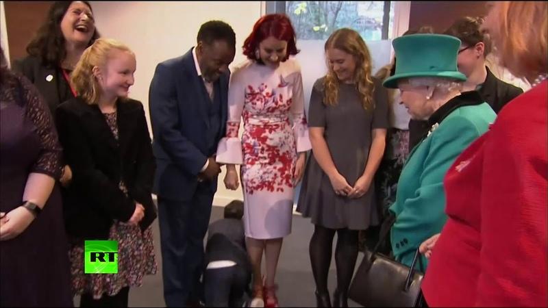 Queen Elizabeth II? Bye! Overwhelmed boy crawls out of room