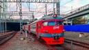 RailWay. Commuter EMU Train ER9PK arrives at Vladivostok/Прибытие пригородного электропоезда ЭР9ПК