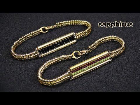 ハンドメイド ロング竹ビーズで編むブレスレットの作り方☆How to make a bracelet w