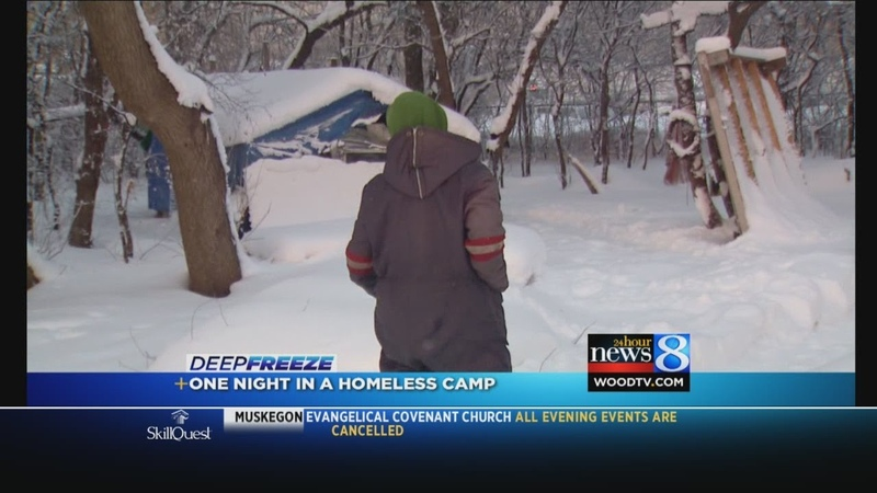 Surviving the cold at a homeless camp